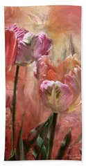 Tulips - Colors Of Love Beach Sheet by Carol Cavalaris