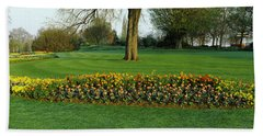 Tulips In Hyde Park, City Beach Towel by Panoramic Images