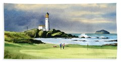 Turnberry Golf Course Scotland 10th Green Beach Towel by Bill Holkham