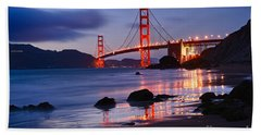 Twilight - Beautiful Sunset View Of The Golden Gate Bridge From Marshalls Beach. Beach Sheet by Jamie Pham