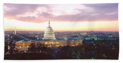 Twilight, Capitol Building, Washington Beach Sheet by Panoramic Images