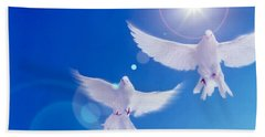 Two Doves Side By Side With Wings Beach Sheet by Panoramic Images