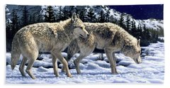 Wolves - Unfamiliar Territory Beach Towel by Crista Forest