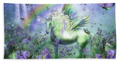 Unicorn Of The Butterflies Beach Sheet by Carol Cavalaris