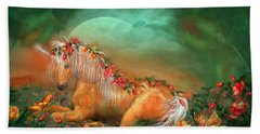 Unicorn Of The Roses Beach Towel by Carol Cavalaris