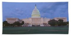 Us Capitol Building At Dusk, Washington Beach Sheet by Panoramic Images