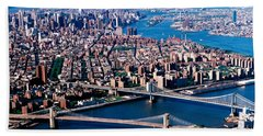 Usa, New York, Brooklyn Bridge, Aerial Beach Sheet by Panoramic Images