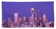 Usa, Washington, Seattle, Night Beach Towel by Panoramic Images