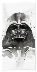 Darth Vader Watercolor Beach Towel by Olga Shvartsur