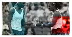 Venus Williams And Serena Williams Beach Towel by Marvin Blaine