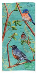 Verdigris Songbirds 1 Beach Towel by Debbie DeWitt