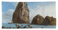 View Of The Rocks On The Third Island Of Cyclops Beach Sheet by Jean-Pierre-Louis-Laurent Houel
