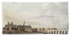 View Of Westminster And The Bridge Wc On Paper Beach Towel by English School