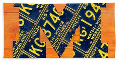 Vintage Michigan License Plate Art Beach Towel by Design Turnpike