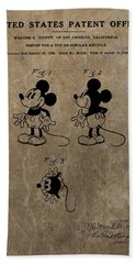 Vintage Mickey Mouse Patent Beach Towel by Dan Sproul