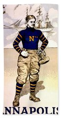 Vintage Poster - Naval Academy Midshipman Beach Towel by Benjamin Yeager