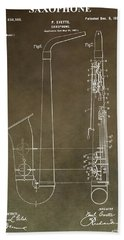 Vintage Saxophone Patent Beach Towel by Dan Sproul