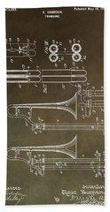 Vintage Trombone Patent Beach Towel by Dan Sproul