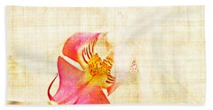 Vintage White Orchid Beach Towel by Delphimages Photo Creations