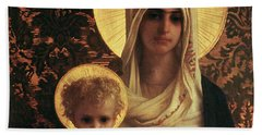 Virgin And Child Beach Towel by Antoine Auguste Ernest Herbert