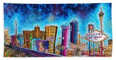 Viva Las Vegas A Fun And Funky Pop Art Painting Of The Vegas Skyline And Sign By Megan Duncanson Beach Towel by Megan Duncanson