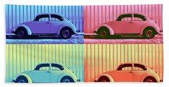 Vw Beetle Pop Art Quad Beach Towel by Laura Fasulo