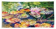 Water Lilies Beach Sheet by Irina Sztukowski
