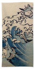 Waves And Birds Beach Towel by Katsushika Hokusai