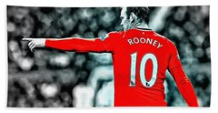 Wayne Rooney Poster Art Beach Towel by Florian Rodarte