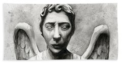 Weeping Angel Don't Blink Doctor Who Fan Art Beach Towel by Olga Shvartsur