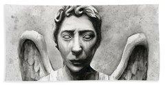 Weeping Angel Don't Blink Doctor Who Fan Art Beach Sheet by Olga Shvartsur