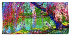 Weeping Beauty, Cherry Blossom Tree And Heron Beach Towel by Jane Small