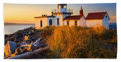 West Point Lighthouse Beach Sheet by Inge Johnsson