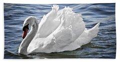 White Swan On Water Beach Towel by Elena Elisseeva