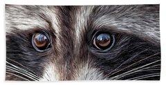 Wild Eyes - Raccoon Beach Sheet by Carol Cavalaris