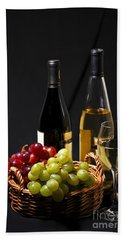 Wine And Grapes Beach Towel by Elena Elisseeva