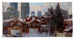 Winter In Mississauga  Beach Sheet by Ylli Haruni