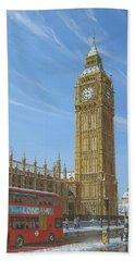 Winter Morning Big Ben Elizabeth Tower London Beach Sheet by Richard Harpum