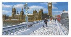 Winter Sun - Houses Of Parliament London Beach Sheet by Richard Harpum