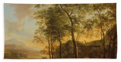 Wooded Hillside With A Vista Beach Towel by Jan Both
