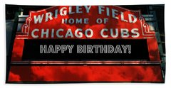 Wrigley Field -- Happy Birthday Beach Towel by Stephen Stookey