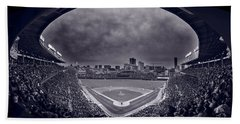 Wrigley Field Night Game Chicago Bw Beach Towel by Steve Gadomski