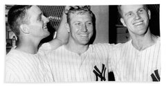 Yankees Celebrate Victory Beach Towel by Underwood Archives