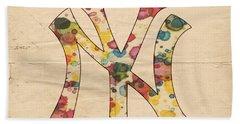 Yankees Vintage Art Beach Towel by Florian Rodarte