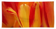 Yellow And Red Striped Tulips Beach Towel by Rona Black