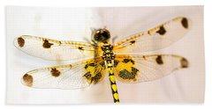 Yellow Dragonfly Pantala Flavescens Beach Towel by Iris Richardson