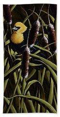 Yellow Headed Blackbird And Cattails Beach Towel by Rick Bainbridge