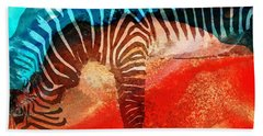Zebra Love - Art By Sharon Cummings Beach Sheet by Sharon Cummings