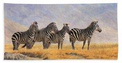 Zebras Ngorongoro Crater Beach Towel by David Stribbling