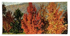 Autumn Landscape Beach Towel by Henri-Edmond Cross